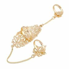 Joint Double Adjustable Women Chain Hollow Ring Sets Full Finger Rhinestone