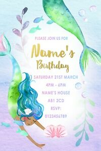 Mermaid Party Personalised Invitations and Envelopes x 10