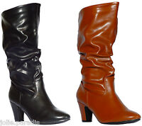 Womens Winter Mid Heel Boots Truffle Knee Ankle Calf Slouch Ruched Riding Ladies