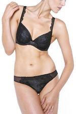 NEW TAG Chantelle Declaration Plunge U/W Bra 3711 Black Grey Lace 34DDD $98