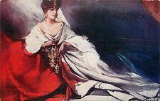 Woman Draped in France Red White & Blue Holds Fluer De Lis WWI Propaganda
