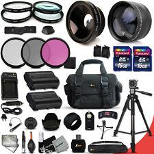 32 Piece Accessory Kit f/ Nikon D7000 w/ Wide +2x Lens +2 Batteries +Mmry +MORE