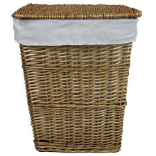 JVL Classic Honey Tapered Willow Wicker Lined Laundry Basket