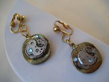 Vintage Steampunk Earrings Watch Gears Parts OOAK Clip-On Hand Made Crystals D