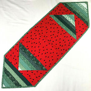 Handmade Quilted 34x12 Table Runner 2 Sided Country Watermelon Christmas Angel