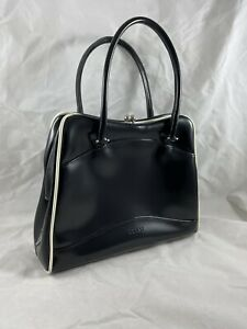 Rare VTG Guess Kiss Lock Bag Black W White Accent Leather Look Purse Dress Up
