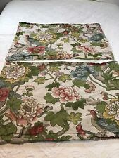 Pottery Barn Pillow Shams Birds Floral Standard Cotton Linen Tan 2 Pieces