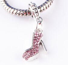 jewelry 2pcs silver shoe Purple CZ big hole Beads European Charm Bracelet A835