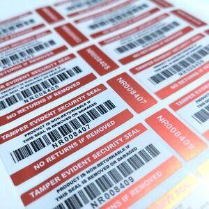 NO RETURNS STICKERS Tamper Proof 2-part Barcoded Labels Tamper Evident Seals