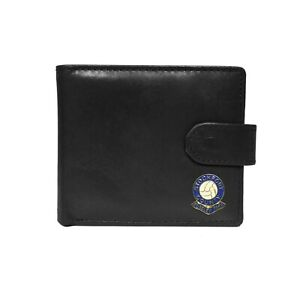 Stockport County football club black leather wallet with coin pocket, new in box
