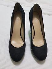 Nine West Black Heels - jewel diamonte black pebbled shoes - Size 9.5