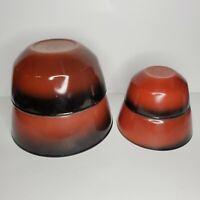 Vintage Anchor Hocking Fire King Nesting Bowls Set of 4 Black Red Brown Ombre