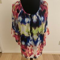 MILLY for Design Nation Women's Top Size L Multi-Color 3/4 Bell Sleeve