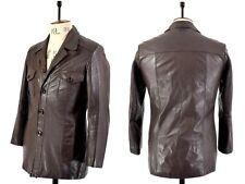 Para hombres De colección años 70 Oscuro Marrón Genuino Cuero Chaqueta Blazer Indie Alma Reino Unido s