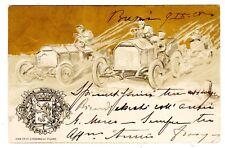 POSTCARD ITALIAN 1905 BRESCIA AUTOMOTIVE WEEK EMBOSSED
