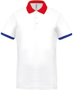Polo de golf homme ProAct (PA489 - White / Red / Sporty Royal Blue)