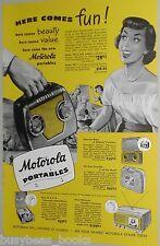 1949 MOTOROLA advrtisement, Motorola59L12 portable  Radio, TV, record player