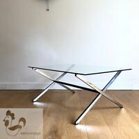 FLORENCE KNOLL Parallel Bar Coffee Table 405 - basse salon verre chrome vintage