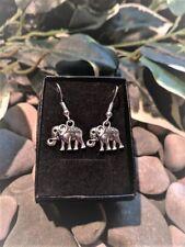Handmade Elephant Silver Plate Earrings (Pair) Gift Boxed