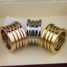 Fashion Size6/7/8/9/10 Gold Plated Titanium Steel Spring Brand Wide Band Ring