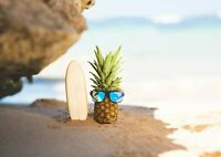 Awesome Surfing Pineapple Poster Size A4 / A3 Surf Beach Poster Gift #12317