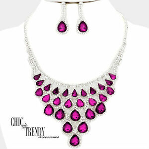 HIGH END DARK PINK VERY CHUNKY CRYSTAL PROM WEDDING FORMAL NECKLACE JEWELRY SET