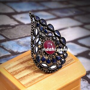 925 Sterling Silver Rose Cut Diamond Natural Ruby & Blue Sapphire Gemstone Ring