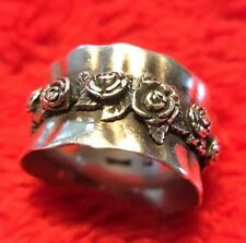 Vintage RL Sterling Silver .925 Repousse Rose Bud Flower Ring Sz 6 (7 grams ) NR