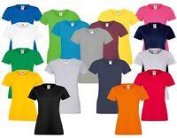 Fruit Of The Loom Ladies Lady Fit Softspun Plain Crew Neck T-Shirts 100% Cotton