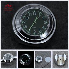 "7/8"" 1"" Universal Motorcycle Waterproof Black Dial Handlebar Mount Clock Watches"