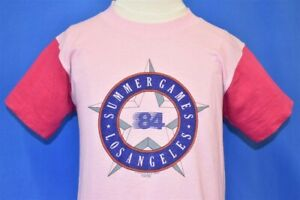 vtg 80s LOS ANGELES OLYMPICS SUMMER GAMES 1984 CALIFORNIA PINK t-shirt YOUTH M