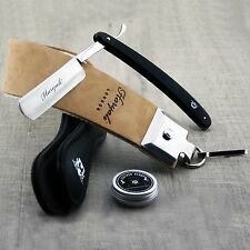3 Pieces Men's Shaving Kit With Cut Throat Razor,Sharping Strop & Paste for Him.