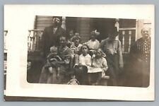 Family Porch Photo RPPC Doll in Stroller—Antique Cute—Three Generations 1910s