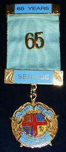 MASONIC (NAMED) BADGE WITH RARE 65 YEARS SERVICE BARS / RIBBON - GREAT CONDITION