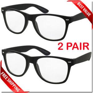Clear Lens Classic Nerd Sunglasses Wayfare Style Glasses Mens Womens Unisex 2 PC