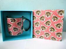Gift Boxed Cat Mug. Pink & Black Cat Design Mug. Tea Coffee Mug, Boxed Mug