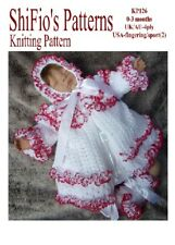 KNITTING PATTERN for BABY JACKET, HAT & BOOTIES 0-3mths # 126  NOT CLOTHES