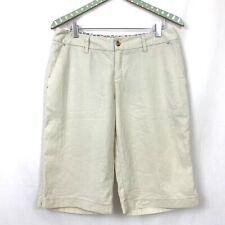 Horny Toad Bermuda Shorts 8 Womens 32x13 Beige Tan Tencel Stitch Detail Pockets