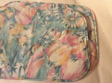 Two New Fabric Placemats Reversible Floral Pastel Colored size 18.5x13.5