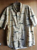 Woolrich Shirt w/Fishing Graphics, Light Brown/Tan, Short Sleeve, Men's size Lrg