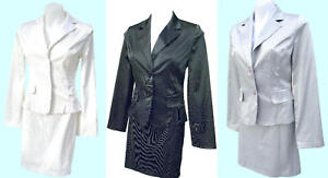 Countess Pinstripe Blazer & Skirt Suit - Black-Gray-White-SIZE & COLOR CHOICE