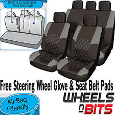 Opel Vauxhall Astra GREY & BLACK Cloth Car Seat Cover Full Set Split Rear Seat