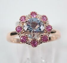 Diamond Aquamarine Tourmaline Halo Engagement Ring 14K Rose Gold Size 7 Flower