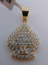 BLING .925 STERLING SILVER CZ's - ACE - ICED OUT Pendant FOR NECKLACE new item