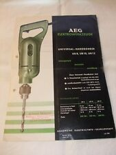 original Werbung Reklame Plakat Prospekt AEG Bohrmachinen UB 8 / 10 / 13 1954