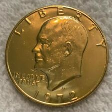 1972 D US Eisenhower Ike Clad Gold Plated Dollar Coin UNC