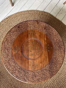 Vintage Moroccan Carved Wood & Brass Folding Octagonal Table