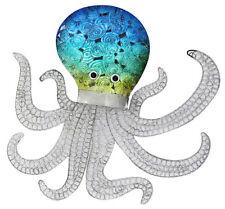Blue Octopus Metal Wall Art 50cm | Coastal Beach Hanging Sculpture