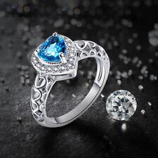 Heart Blue & White Topaz Gemstone 14K White Gold Plated Ring Sz 9 Romantic Gift