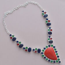75 GRAMS!!! DELUXE!! COLORFUL CORAL, EMERALD, SAPPHIRE & RUBY 925 NECKLACE 18""